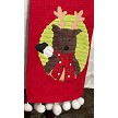 Reindeer Plush Red Linen
